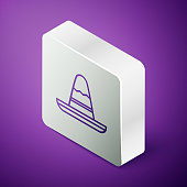 Isometric line Traditional mexican sombrero hat icon isolated on purple background. Silver square button. Vector Illustration