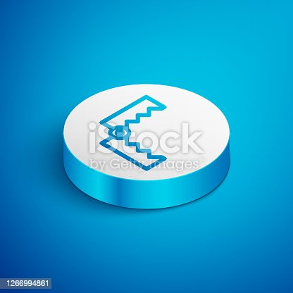 Isometric line Trap hunting icon isolated on blue background. White circle button. Vector
