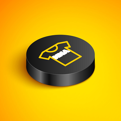 Isometric line T-shirt with fight club MMA icon isolated on yellow background. Mixed martial arts. Black circle button. Vector