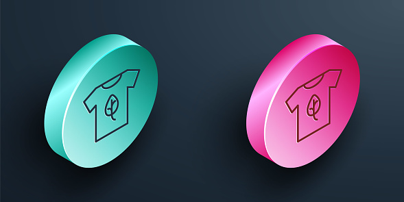 Isometric line Vegan shirt icon isolated Isometric line background. Turquoise and pink circle button. Vector