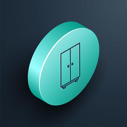 Isometric line Wardrobe icon isolated on black background. Turquoise circle button. Vector Illustration