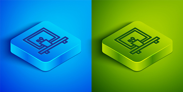 Isometric line Washbasin mirror icon isolated on blue and green background. Bathroom interior with a mirror. Square button. Vector