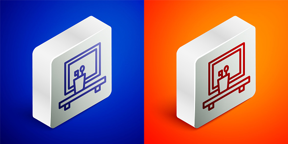 Isometric line Washbasin mirror icon isolated on blue and orange background. Bathroom interior with a mirror. Silver square button. Vector