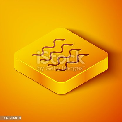 Isometric line Wave icon isolated on orange background. Yellow square button. Vector Illustration
