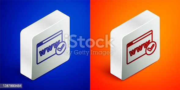 istock Isometric line Website template icon isolated on blue and orange background. Internet communication protocol. Silver square button. Vector 1287893454