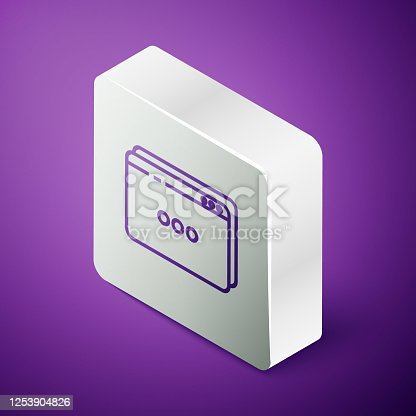 istock Isometric line Website template icon isolated on purple background. Internet communication protocol. Silver square button. Vector Illustration 1253904826