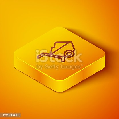Isometric line Wheelbarrow with dirt icon isolated on orange background. Tool equipment. Agriculture cart wheel farm. Yellow square button. Vector Illustration