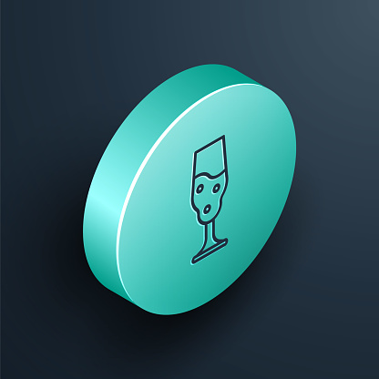 Isometric line Wine glass icon isolated on black background. Wineglass icon. Goblet symbol. Glassware sign. Happy Easter. Turquoise circle button. Vector Illustration