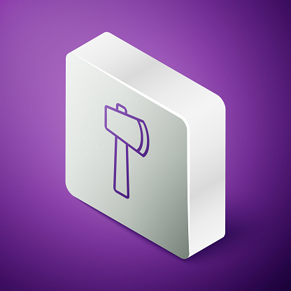 Isometric line Wooden axe icon isolated on purple background. Lumberjack axe. Silver square button. Vector Illustration