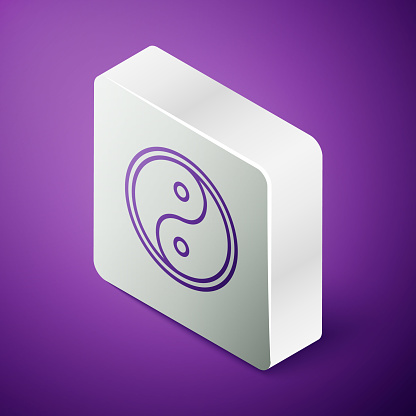 Isometric line Yin Yang symbol of harmony and balance icon isolated on purple background. Silver square button. Vector Illustration