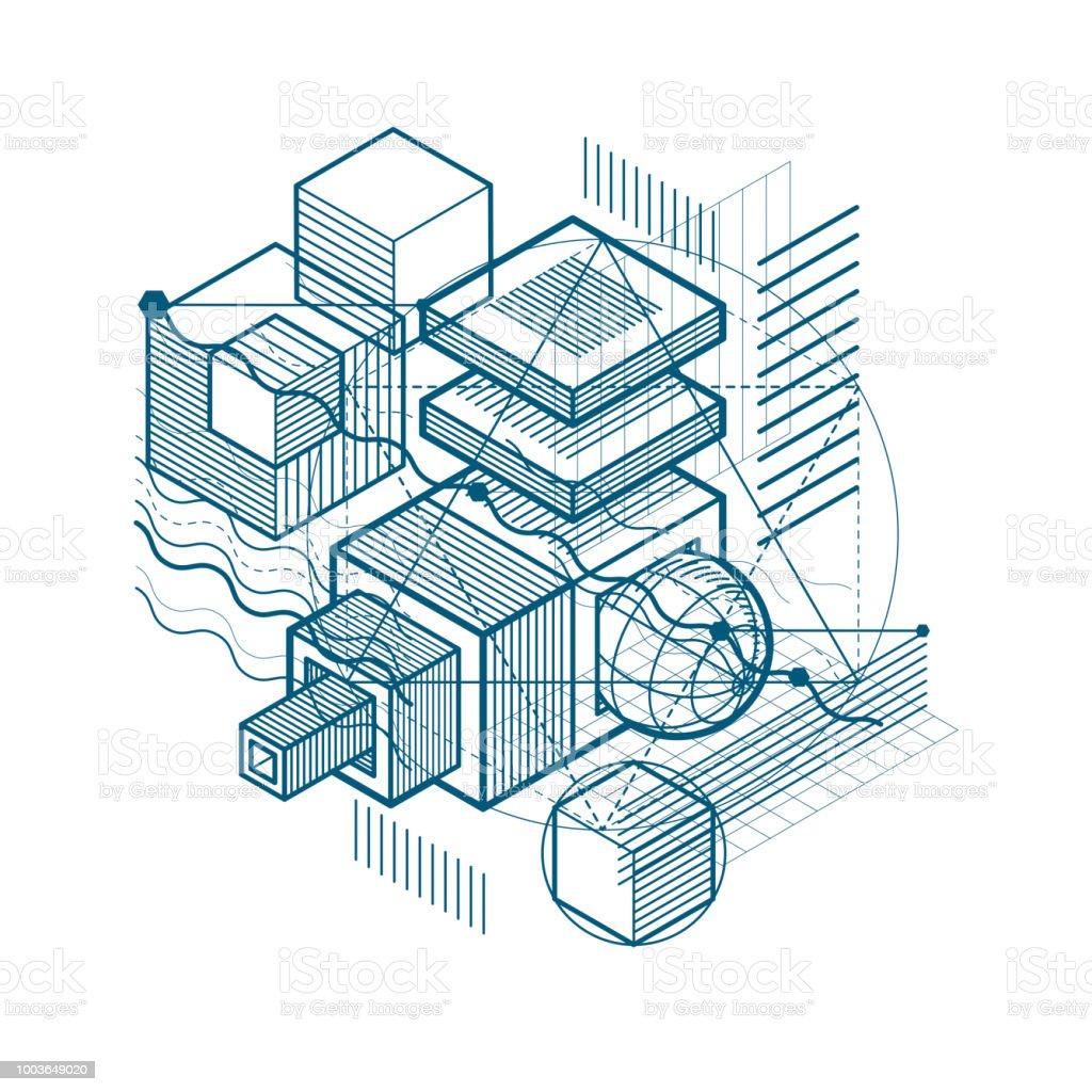 Fondo de vector abstracto lineal isométrica, abstracción forrado. Cubos, hexágonos, cuadrados, rectángulos y diferentes elementos abstractos. - ilustración de arte vectorial