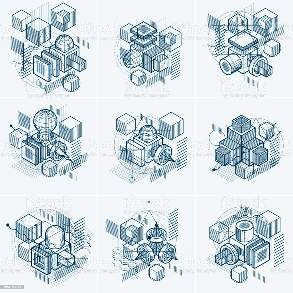 Isometric linear abstract vector backgrounds, lined abstractions. Cubes, hexagons, squares, rectangles and different abstract elements. Vector set. isometric linear abstract vector backgrounds lined abstractions cubes hexagons squares rectangles and different abstract elements vector set - immagini vettoriali stock e altre immagini di affari finanza e industria royalty-free