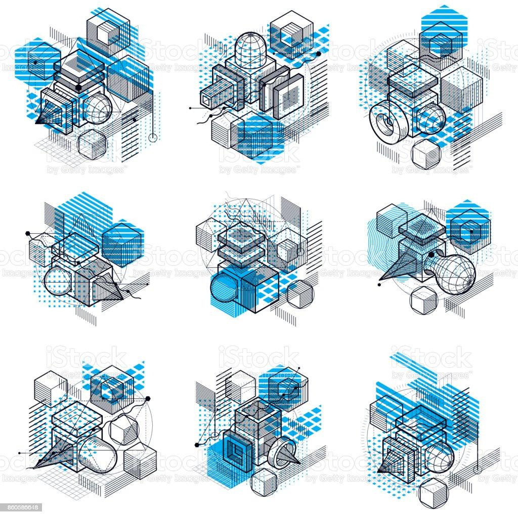 Fondos de vector abstracto lineal isométrica, abstracciones forrados. Cubos, hexágonos, cuadrados, rectángulos y diferentes elementos abstractos. Conjunto de vectores. - ilustración de arte vectorial