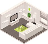 Isometric living room icon