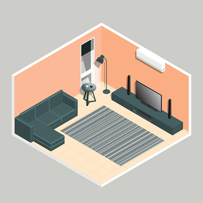 Isometric Living Room In Coral Pink And Orange