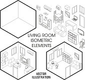 Isometric living room interior constructor. Vector set of isometric Furniture elements of home interior isolated on white background. Flat 3d design template.