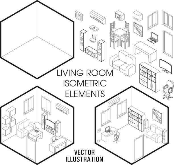 等尺性のリビング ルーム インテリア コンス トラクターです。ホーム インテリアに孤立した白い背景の等尺性の家具の要素のベクトルを設定します。平らな 3 d 設計テンプレート - リビング点のイラスト素材/クリップアート素材/マンガ素材/アイコン素材