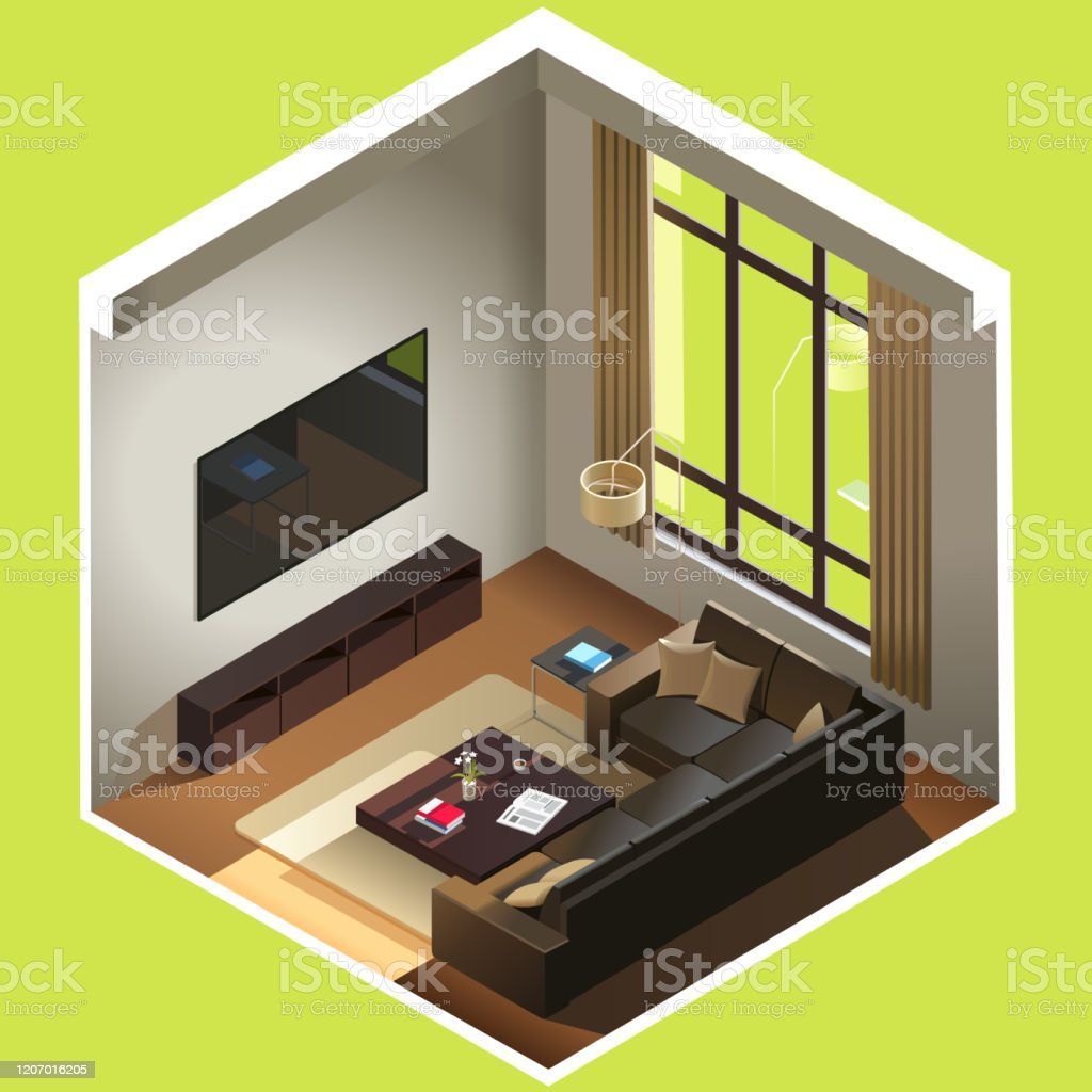 https www istockphoto com vector isometric living room room includes sofa coffee table tv and other furniture gm1207016205 348330667