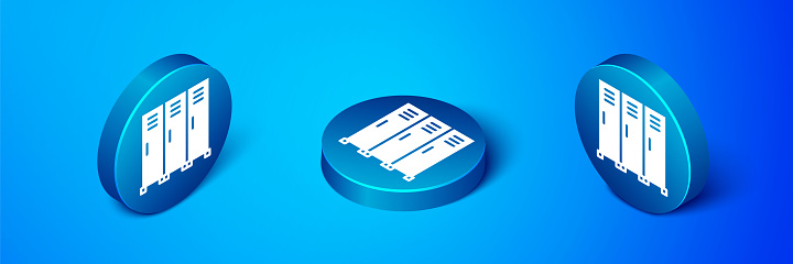 Isometric Locker or changing room for hockey, football, basketball team or workers icon isolated on blue background. Blue circle button. Vector