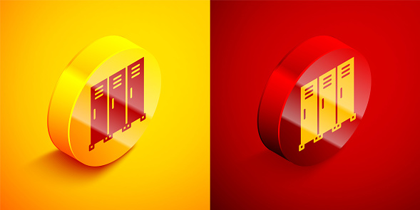 Isometric Locker or changing room for hockey, football, basketball team or workers icon isolated on orange and red background. Circle button. Vector