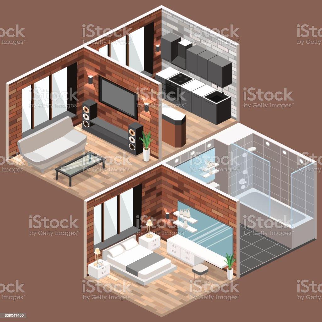 Isometrische Loftwohnungen Mit Küche Bad Wohnzimmer Und Schlafzimmer