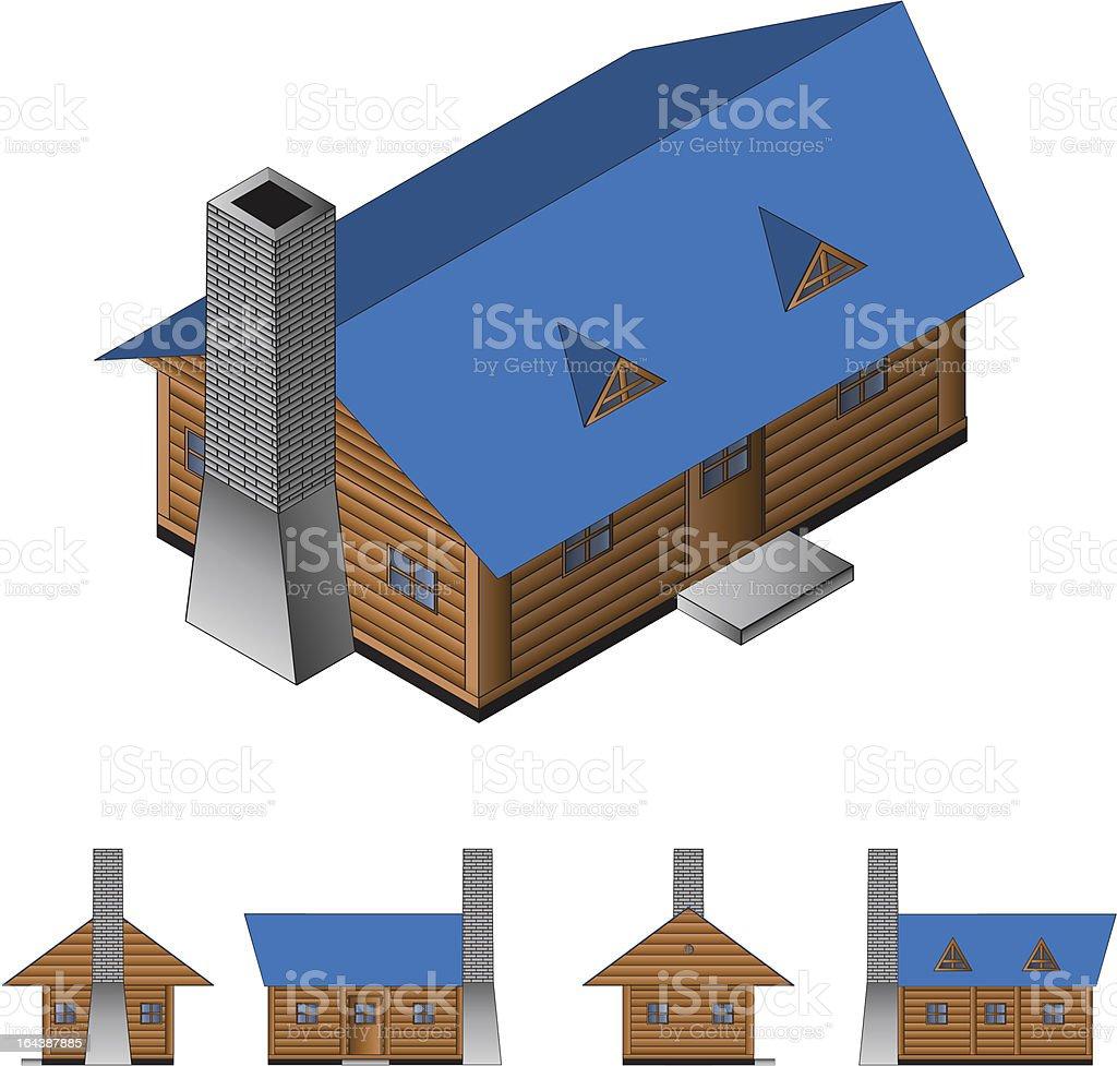 Isometric log cabin royalty-free stock vector art