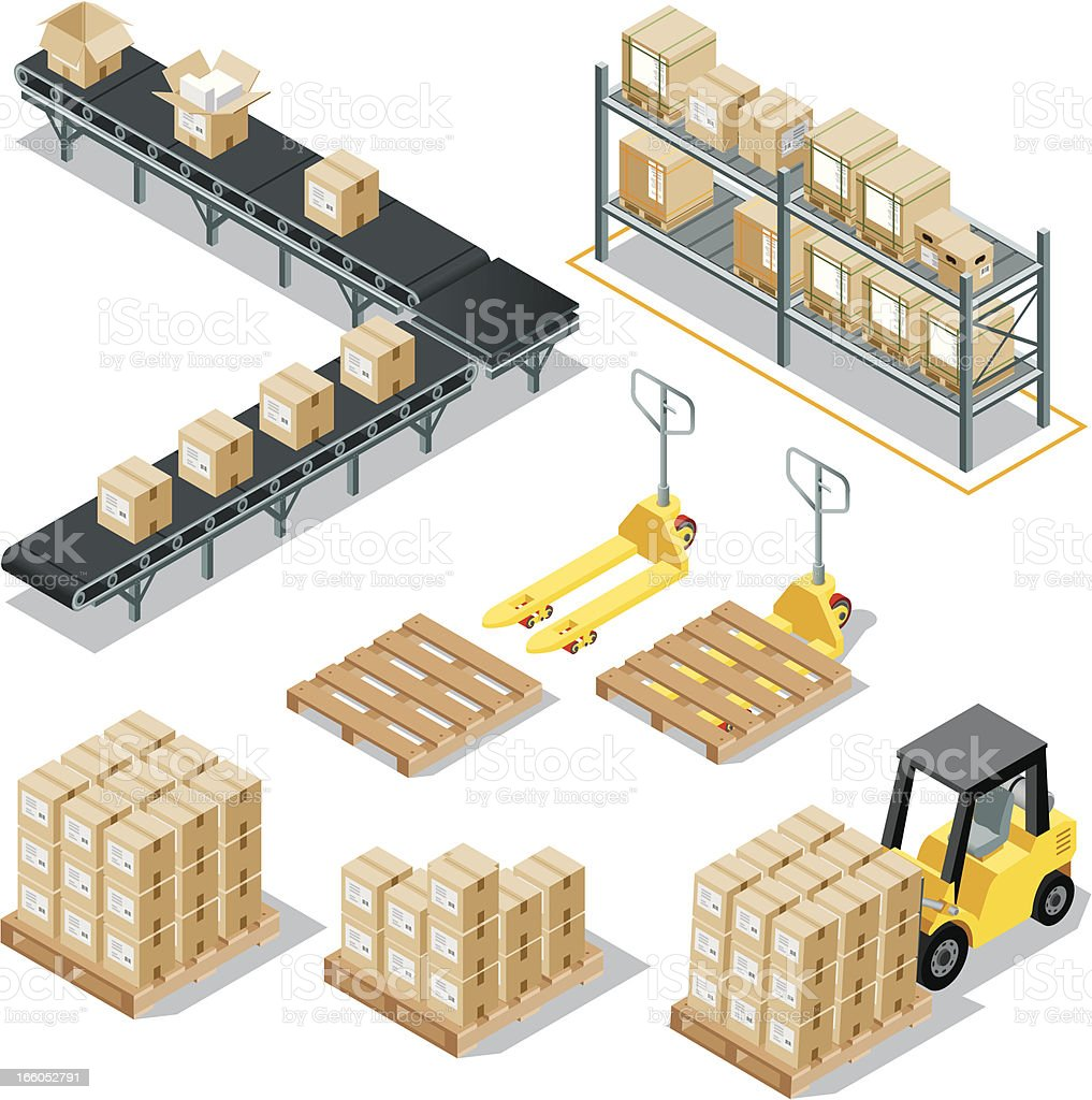 Isometric Logistic Delivery vector art illustration