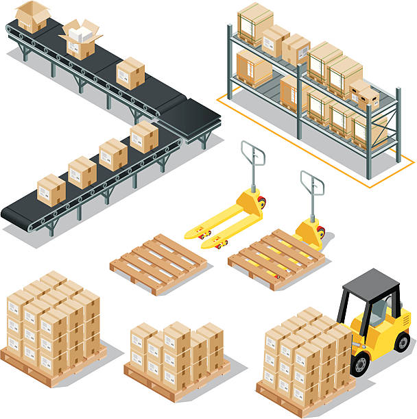 Isometric Logistic Delivery Isometric, Logistic Delivery Set made in adobe Illustrator (vector) cardboard box stock illustrations