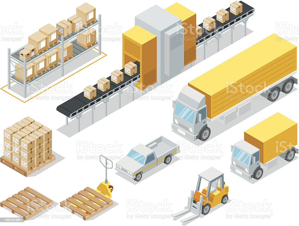 Isometric Logistic Delivery royalty-free stock vector art