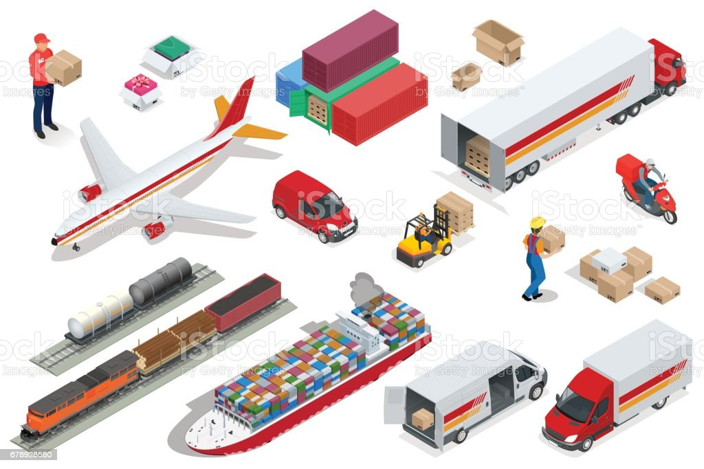 Isometric Logistics icons set of different transportation distribution vehicles, delivery elements. Air cargo trucking, rail transportation, maritime shipping, Vehicles designed to carry large numbers vector art illustration