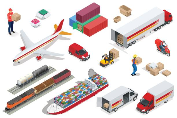 Isometric Logistics icons set of different transportation distribution vehicles, delivery elements. Air cargo trucking, rail transportation, maritime shipping, Vehicles designed to carry large numbers Isometric Logistics icons set of different transportation distribution vehicles, delivery elements. Air cargo trucking, rail transportation, maritime shipping Vehicles designed to carry large numbers train vehicle stock illustrations
