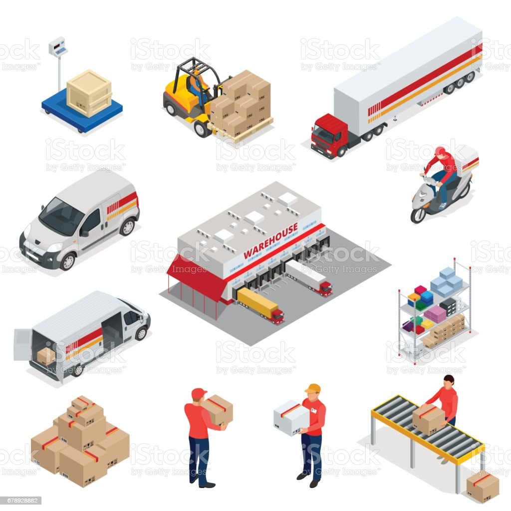 Isometric Logistics icons set of different transportation distribution vehicles, delivery elements. Vehicles designed to carry large numbers vector art illustration
