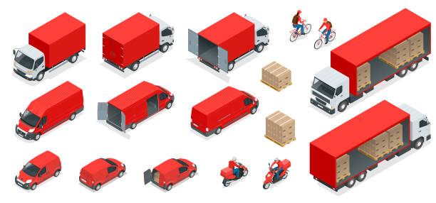 ilustraciones, imágenes clip art, dibujos animados e iconos de stock de iconos de logística isométricos conjunto de vehículos de distribución de transporte diferentes, elementos de la entrega. transporte de cargas aislado sobre fondo blanco. - proyección isométrica