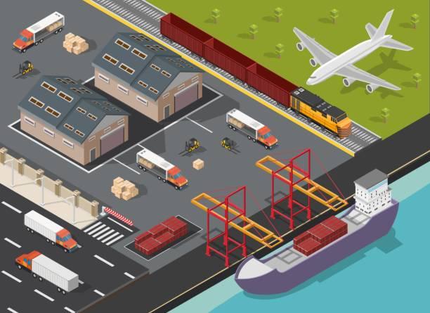 ilustrações de stock, clip art, desenhos animados e ícones de isometric logistics low poly transportation process illustration background - porto