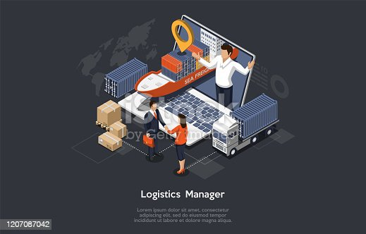 istock Isometric Logistics Manager And Warehouse Concept. Maritime And Overland Transport Logistics. Big Ship, Truck, Cargo, Manager On The Monitor And Happy Customers Shaking Hands. Vector Illustration 1207087042