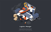 Isometric Logistics Manager And Warehouse Concept. Maritime And Overland Transport Logistics. Big Ship, Truck, Cargo, Manager On The Monitor And Happy Customers Shaking Hands. Vector Illustration.