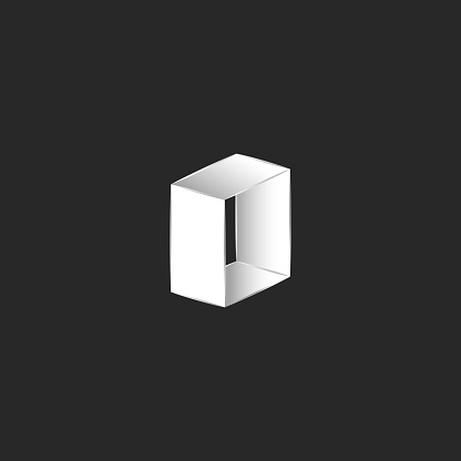 Isometric logo letter O shape, abstract door icon or zero number