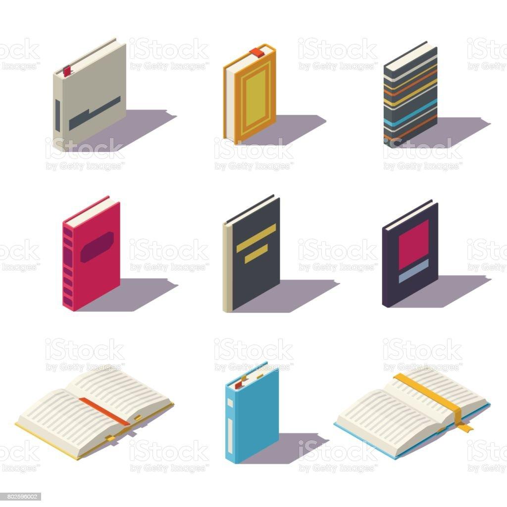 Isometric low poly books vector art illustration