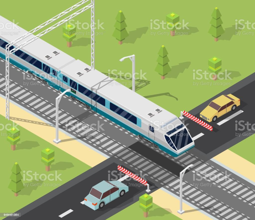 Isometric low poly train railroad and cars vector illustration background vector art illustration