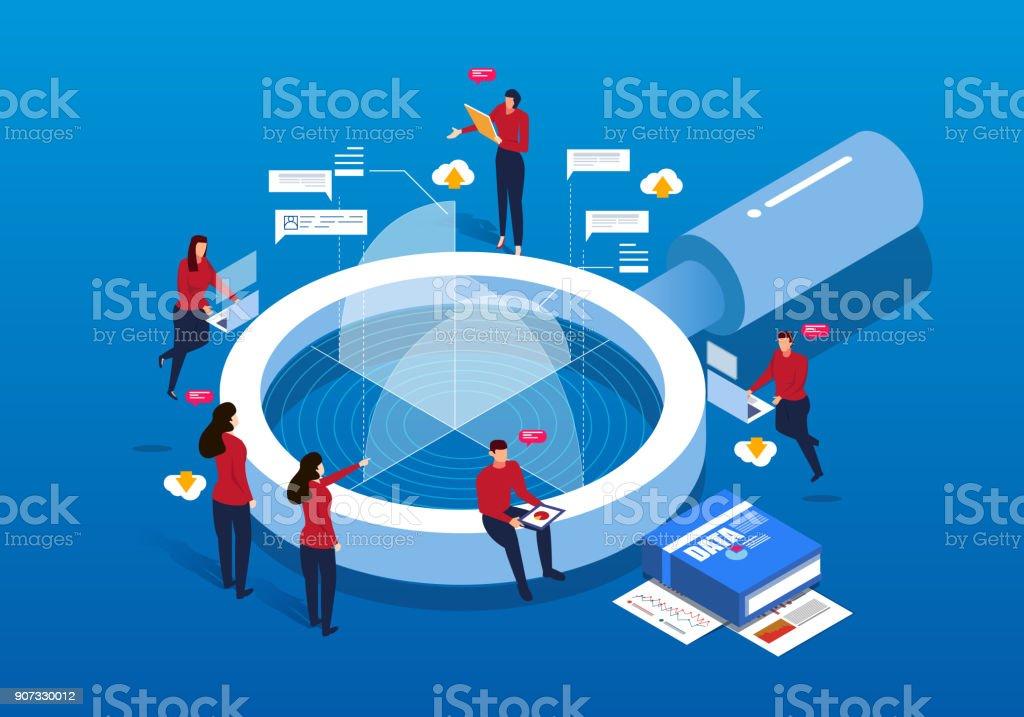 Isométrico lupa y análisis de datos ilustración de isométrico lupa y análisis de datos y más vectores libres de derechos de analizar libre de derechos