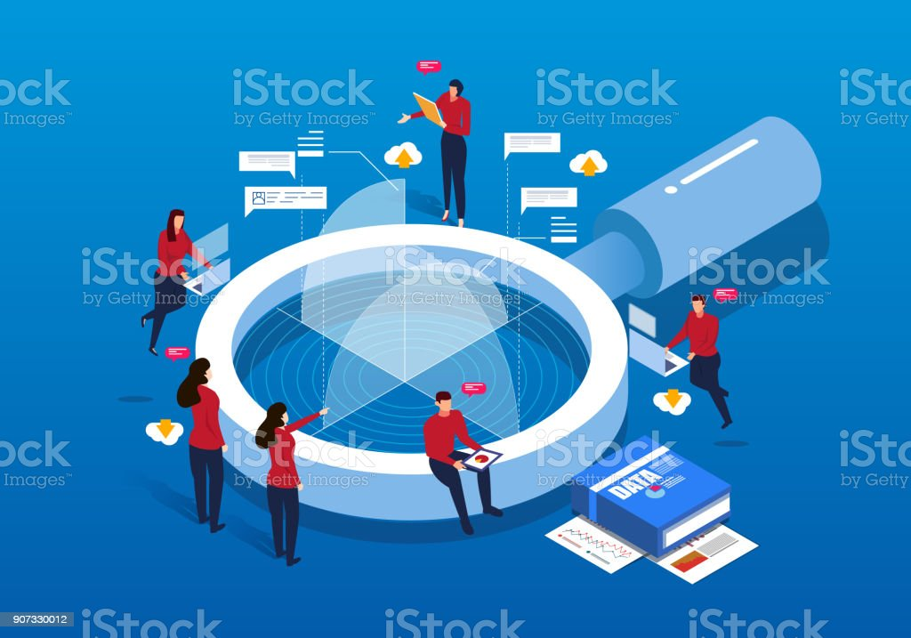 Isometric magnifying glass and Data Analysis vector art illustration