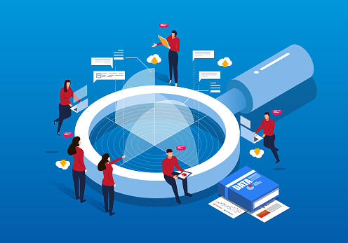 Isometric Magnifying Glass And Data Analysis Stock Illustration - Download Image Now