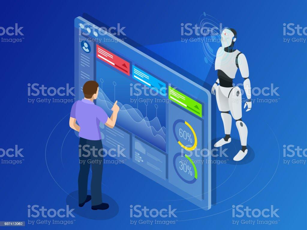Ingeniero mantenimiento isométrico con pantalla digital. Programación de robot - ilustración de arte vectorial