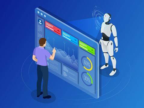 Isometrische Onderhoud Ingenieur Werken Met Digitale Aflezing Robot Programmatie Stockvectorkunst en meer beelden van Aanraken