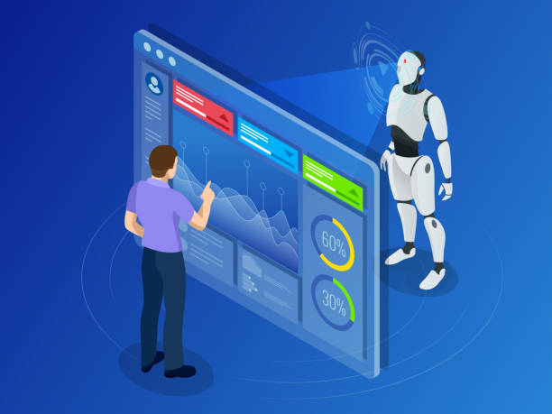 Isometric Maintenance engineer working with digital display. Robot programming Isometric Maintenance engineer working with digital display. Robot programming concept. Artificial intelligence horizontal banner. Vector illustration automated stock illustrations