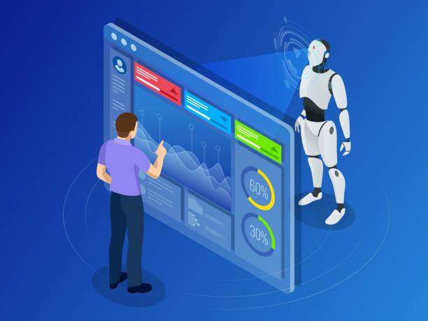 Isometric Maintenance engineer working with digital display. Robot programming vector art illustration
