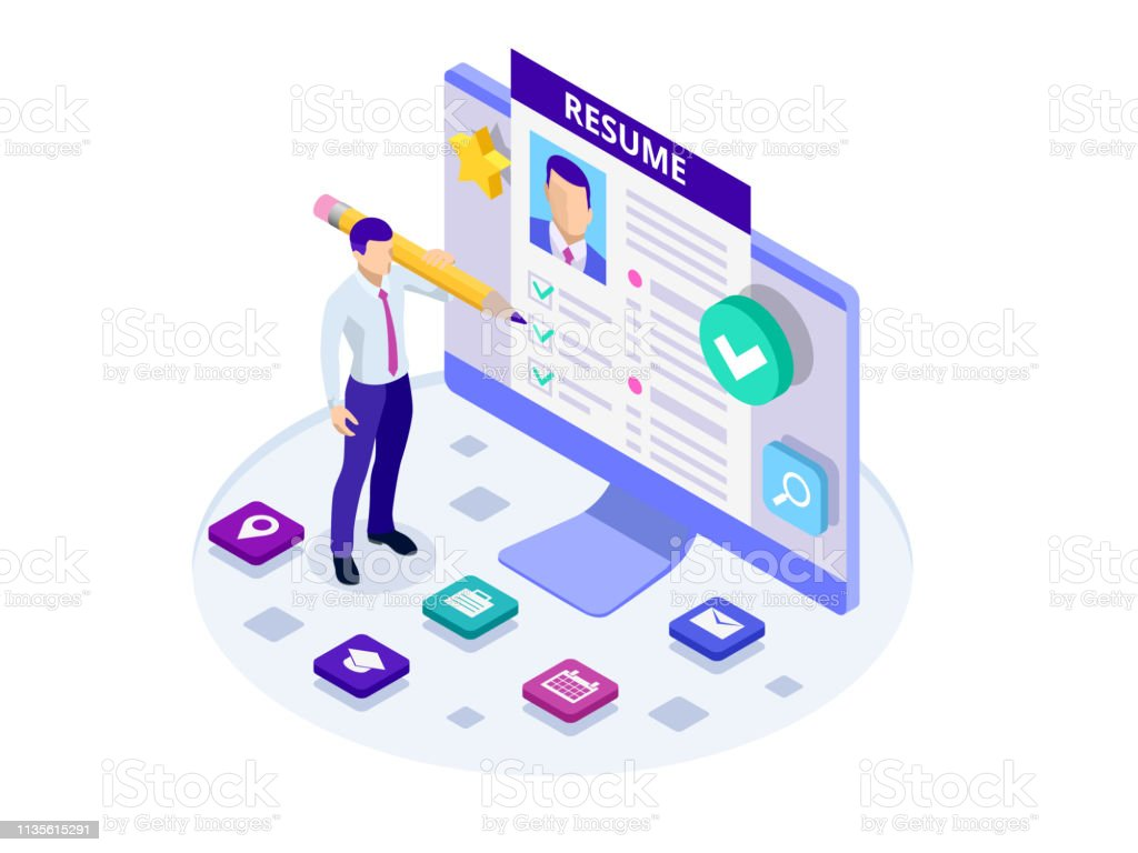 Isometric Man And Cv Resume Documents Recruiting Advertisement Job Opportunity Searching Professional Staff Work Analyzing Resume Documents Papers Stock Illustration Download Image Now Istock