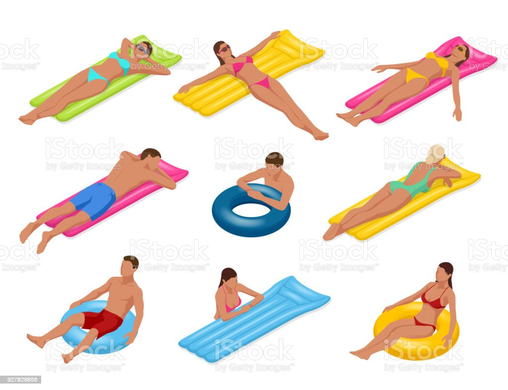 Isometric man and woman on Floating air mattress. Vector illustration. Enjoying suntan. Travel, holidays, youth and friendship concept vector art illustration