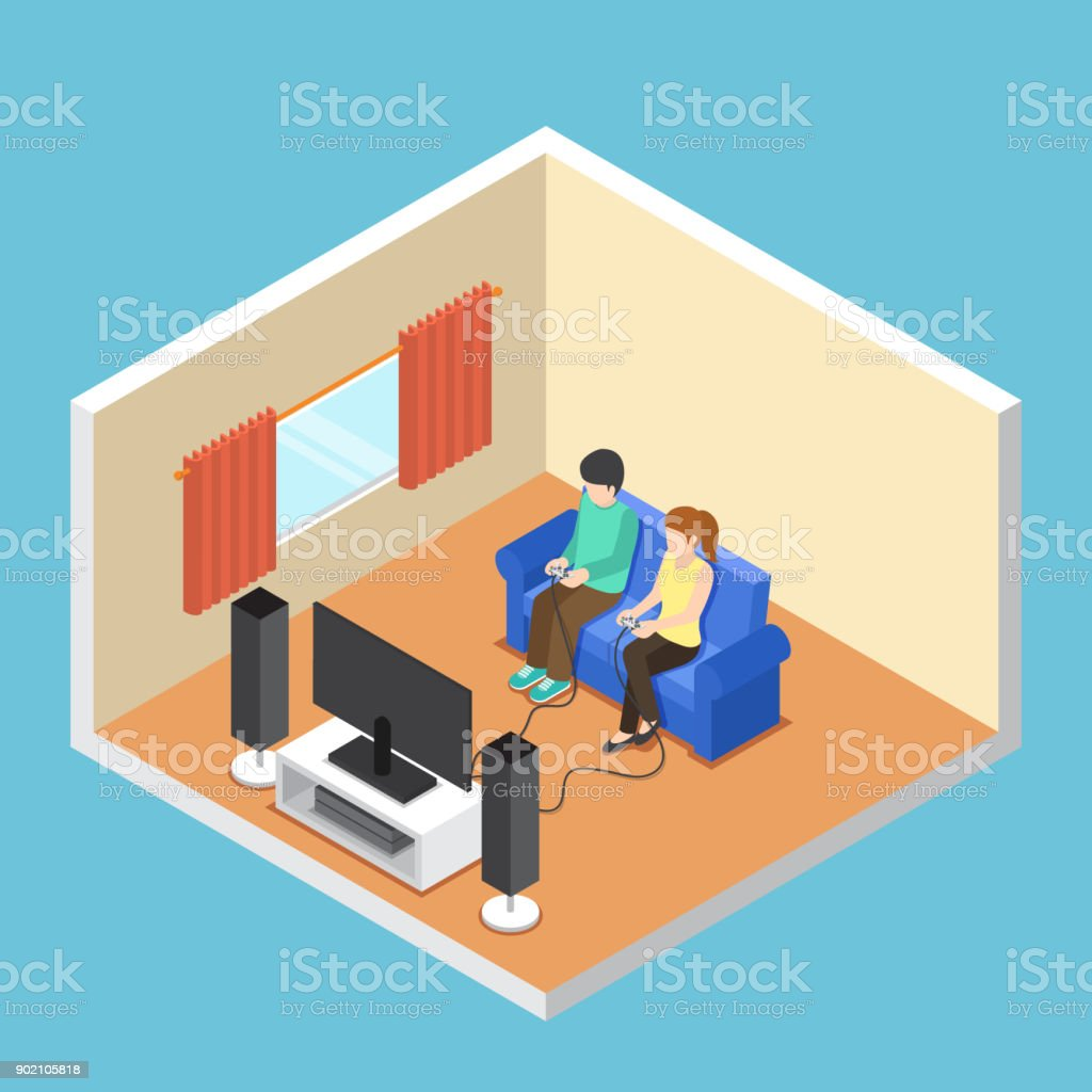 Isometric Man And Woman Playing Video Game In The Living Room Stock