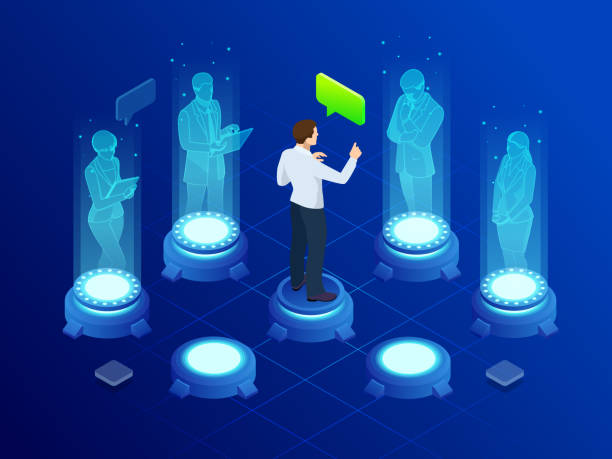 isometric-man-communicates-with-abstract